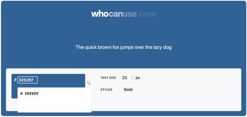 Screenshot von whocanuse.com. Das Interface zeigt zwei Eingabefelder für Farbwerte.