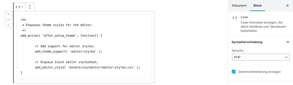 """Gutenberg-Code-Block als Beispiel mit geöffnetem Options-Panel. """"PHP"""" ist als Sprache ausgewählt, die Option für Zeilennummern ist aktiv."""