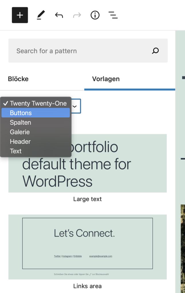 Die neue Vorlagen-Auswahl in Gutenberg. Pattern-Kategorien werden als Auswahlmenü dargestellt.