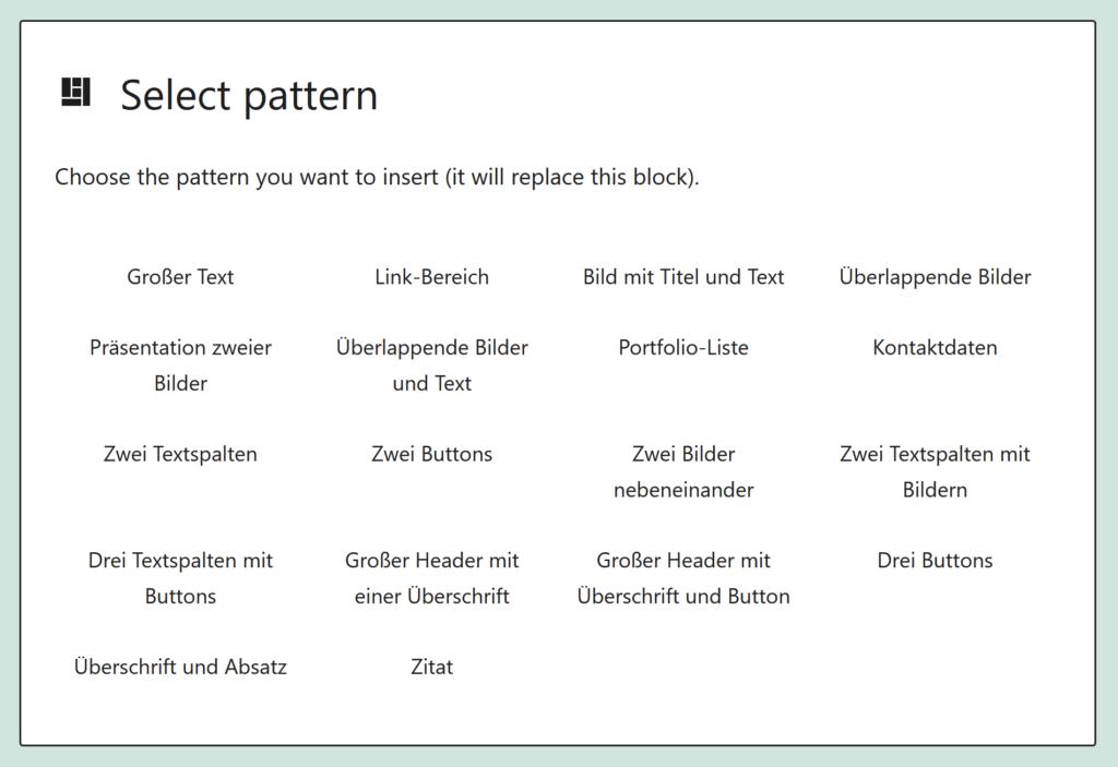 Screenshot des User-Interface zur Auswahl eines Patterns.