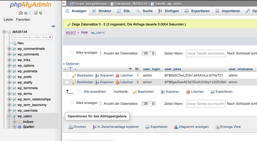 phpmyadmin Interface mit ausgewählter wp_users-Tabelle und dem Admin-Benutzer, der umbenannt werden soll.