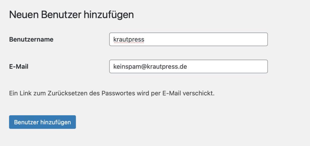 """WordPress-Formular zum Anlegen neuer Benutzer-Accounts, mit """"krautpress"""" als Beispiel-Benutzer."""