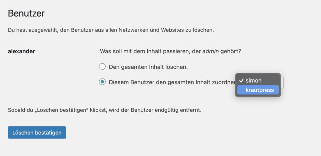 Löschdialog zum Entfernen von WordPress-Benutzern.